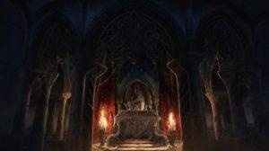 Dibujo del ataud de Drácula realizada por MonstersPit Studio