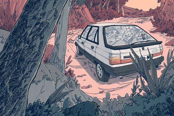 Como publicar un cómic coche en bosque
